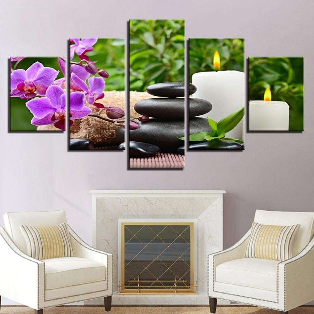 TACBZ Wall Art Canvas Hd Prints Posters 5 Pieces Butterfly Orchid Pebbles Candle Paintings Stones Flower Pictures Home Decor 150X100Cm Canvas Print Wall Art Picture Modular Wall Poster Modern Abstract