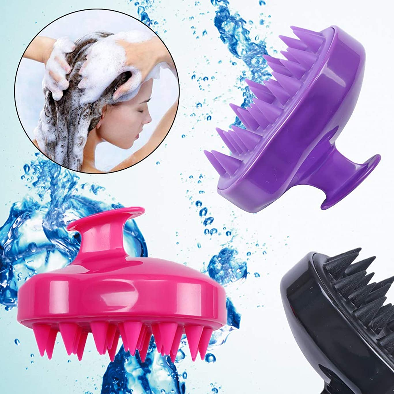 3 Pcs Shampoo Brush Hair Scalp Massaging Brush Soft Silicone Cleaning Comb for Men, Women, Kids and Pet