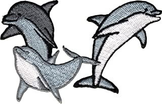 Three Dolphins - Greyish With White - Embroidered Iron On Or Sew On Patch
