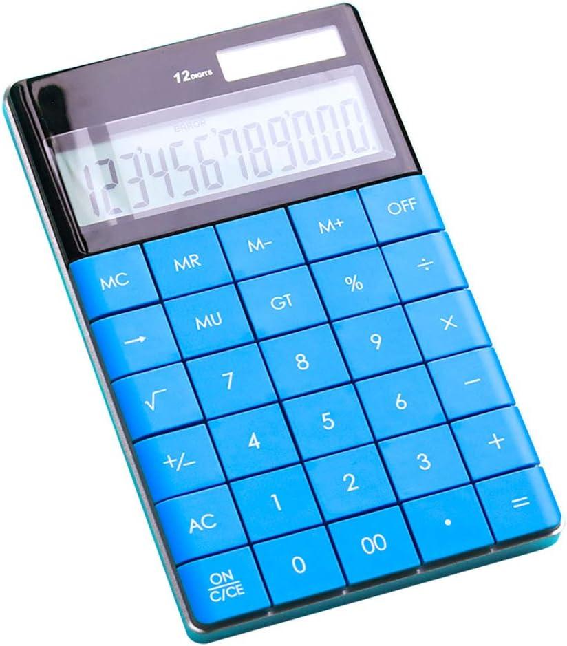 JKGHK Taschenrechner 12-stelliger Doppel-Power-Handheld-Desktop-Rechner mit gro/ßer LCD-Anzeige Gro/ße empfindliche Taste,Schwarz