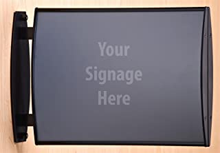 Displays2go Hallway Signs, Double Sided for 11 x 8 Inches Graphics, Wall or Ceiling Mount, Convex Black Aluminum Construction with Plastic End Caps (W90L1185)