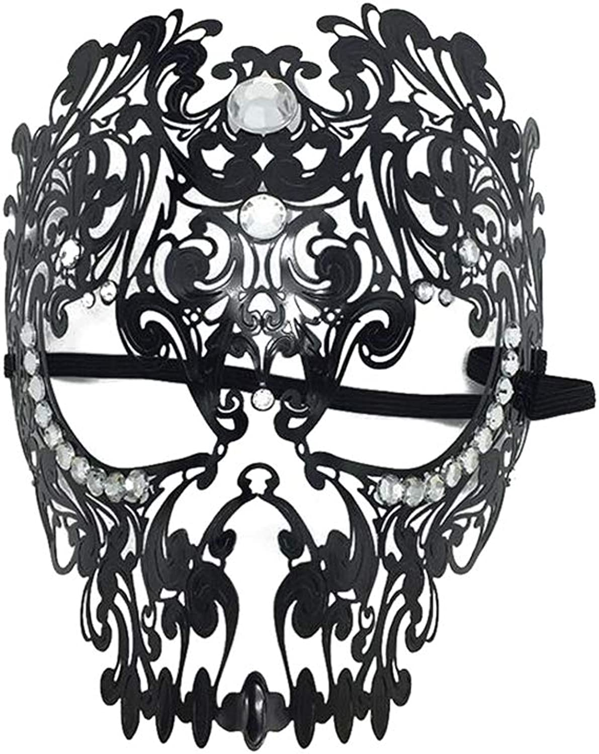 Skull Iron Mask,Full Face Female Mask Masquerade Princess Mask Venice Wrought Iron Mask Cosplay Hollow Mask Black