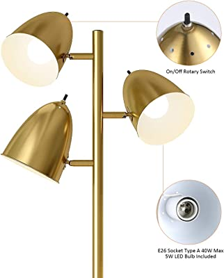OYEARS LED Reading Floor Lamp for Living Room Mid Century Modern Adjustable 3 Light Tree Antique Brass Tall Standing Lamp 3 LED Bulbs Included Gold