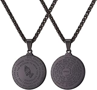 U7 Men Women Bible Verse Prayer Necklace with Free Chain 20