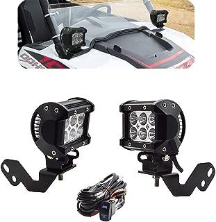 DaSen For 2x 18W High Power LED Work Light Pod w/Left & Right Side Pillar Mounting Bracket & Rocker Switch Wiring Kit Fits 2014-2019 POLARIS RZR XP 1000 & 2015-2019 RZR 900