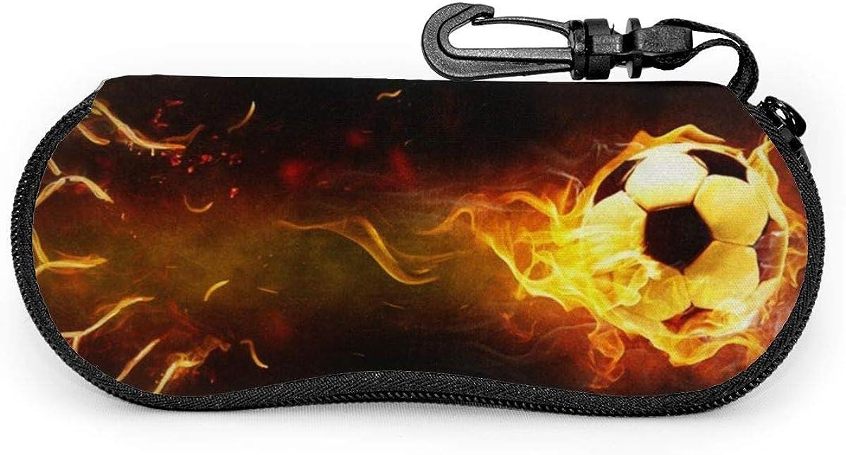 Fire Soccer Ball Sunglasses Soft Case Ultra Light Neoprene Zipper Eyeglass Case With Key Chain