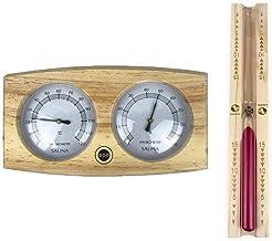 SudoreWell® Sauna Thermomètre/hygromètre et cadre en bois pour sauna + Sablier 15 min- Fabriqué en Finlande par OPA