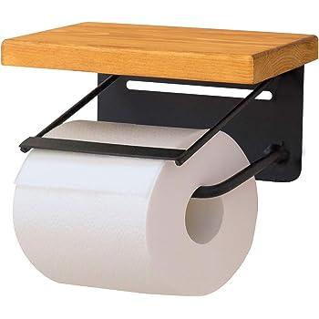 ottostyle.jp トイレットペーパーホルダー 【シングル/キャメル】 パイン材/オイル仕上げ 2個取付 天然木 棚 小物置き 簡単設置