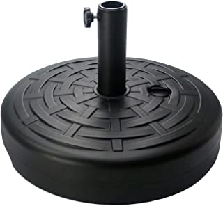 Sunnyglade 30LB Central Pole Umbrella Base with Wide Rattan Design with Steel Umbrella Holder Water Filled Umbrella Base Stand