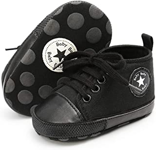 LAFEGEN Baby Girls Boys High Top Canvas Shoes Infant Newborn Toddler First Walkers Crib Shoes(0-18 Months)