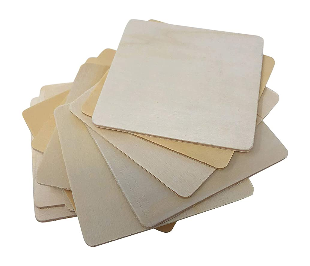 """Wooden Unfinished Coasters 4"""" x 4""""inch   Bag of 12 Unfinished Blank Wooden Square Cutouts   Rounded Corners   Perfect for DIY and Craft Projects - by Woodpeckers"""