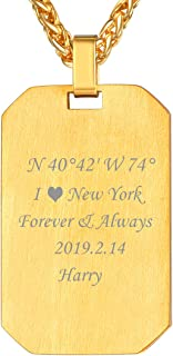 U7 Personalized Dog Tags Necklace with Chain Stainless Steel Text/Image Print Photo Custom Engraving Pendant, Gift for Men Women(Tag/Round/Heart)