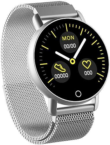 Esperando por ti Mamum Reloj Inteligente,Pulsera Deportiva Inteligente Inteligente Inteligente Presión Arterial Monitorización de la frecuencia cardíaca Salud Rastreador de Ejercicios (plata)  estar en gran demanda