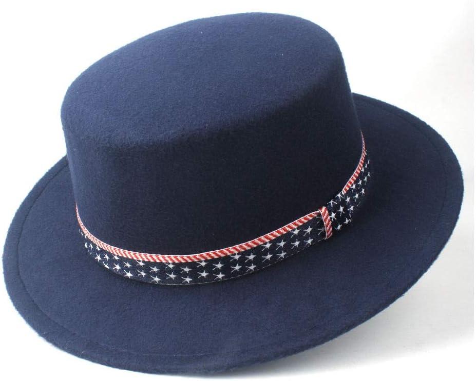 LIRRUI Men and Women Wool Flat Top Hat Wide Brim Fedora Hat Friend Party Church Hat Boater Jazz Hat Size 56-58CM (Color : Dark Blue, Size : 56-58)