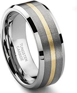 Hollywood Pro 8MM Satin Finish Tungsten Carbide 14K Gold Inlay Wedding Band Ring