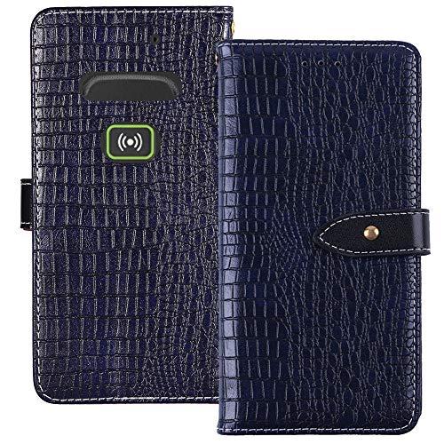 YLYT Flip Hülle Etui Blau Leder Tasche Schutz Hülle Für Doro Secure 580IUP Handy Horizontale Standfunktion Magnetverschluss Strapazierfähiger Cover