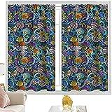 Cortinas de bloqueo de luz para acuario, decoración mágica de vida silvestre artística, 42 x 84 pulgadas de largo