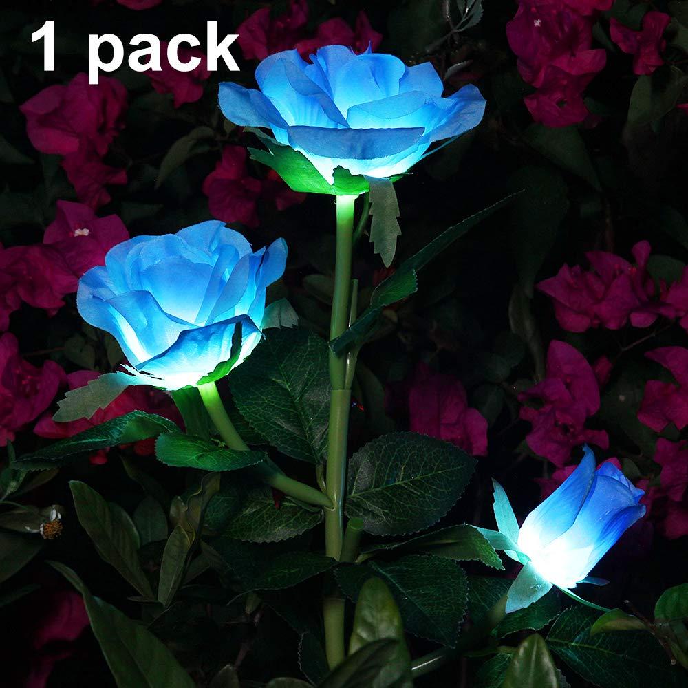 Luces Solares de Jardín Luz de Estaca Rosa Solar Luces de Camino Luces Decoradas de Jardín Patio al Aire Libre para Festivales Navidades (Blue, 1 PC): Amazon.es: Iluminación