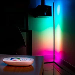 RGB Floor LAMP-LED Corner Light-Color Changing Light - RGB Colored Tall Cool Lights Corner Floor Lamp - Minimalist Home Decor - Dimmable Colorful LED Light Bulb with Remote Standing light bar.