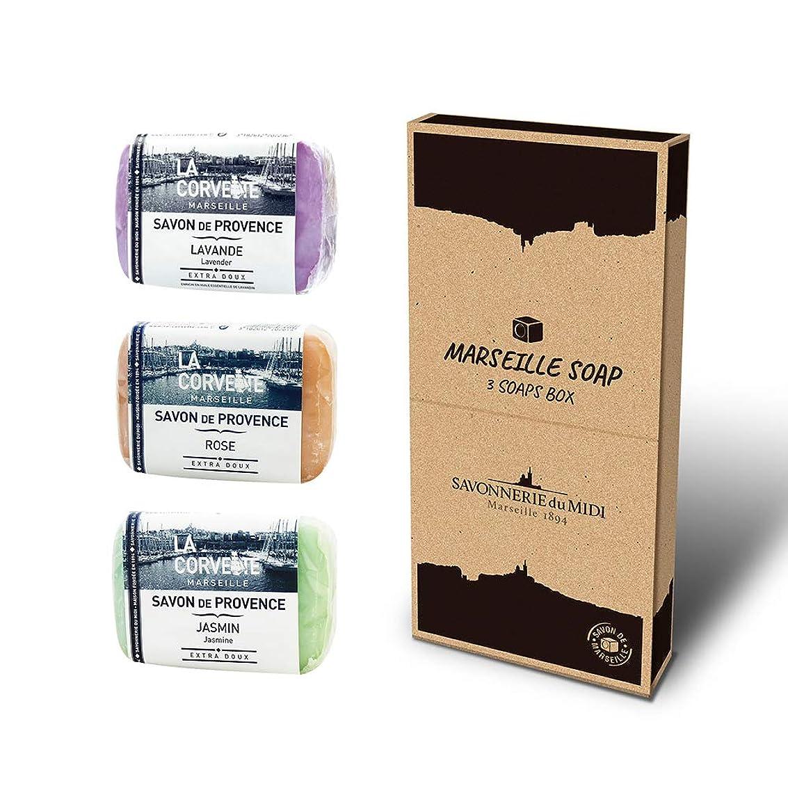 フィード寄付するメーターマルセイユソープ 3Soaps BOX フローラル