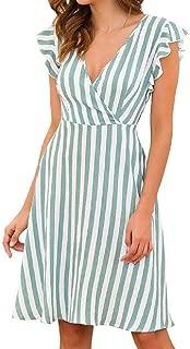 FSSE Women Casual Regular Fit Short Sleeve V-Neck Stripe Swing Flare Mini Dress