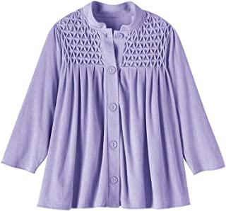 AmeriMark Women's Terry Knit Bed Jacket Button Down Front with Waffle Weave Yoke