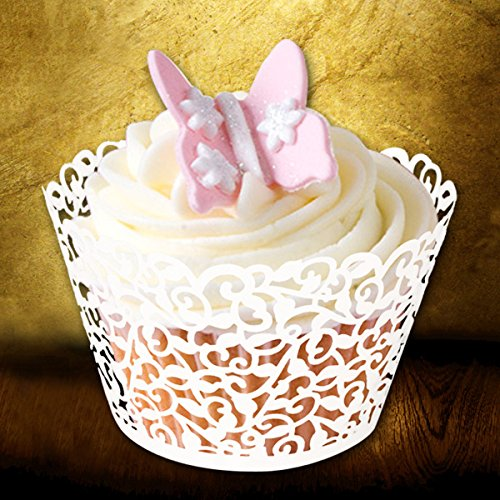 120 Pcs Laser Cut Vine Lace Cupcake Wrapper for Wedding Party Cake Decoration(ivory)