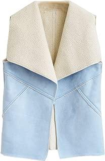 Women's Casual Sherpa Fleece Vest Open Front Cardigan Faux Suede Vests Gilet Waistcoats