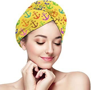 DemarLOO Microfiber Dry Hair Cap For Bath Spa Soft Towel,Super Absorbent Quick Drying Towel Wrap,Turbans For Wet Hair- Colorful_and_jazzy_treble_clef_and_piano