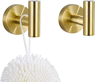 Single Robe Hook, Towel Hook Brushed Gold, SUS304 Stainless Steel Bathroom Clothes Cabinet Closet Coat Hook Wall Mounted,Round,Heavy Duty Door Hanger, 2 Pack