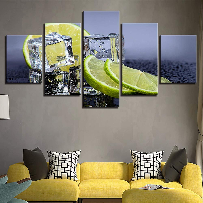 edición limitada en caliente QThxqa Impresiones de de de la lona fotos arte de parojo de cocina marco de 5 piezas de fruta de limón cubos de hielo pinturas Modular casa Decoración Comida bebida Poster  mejor vendido