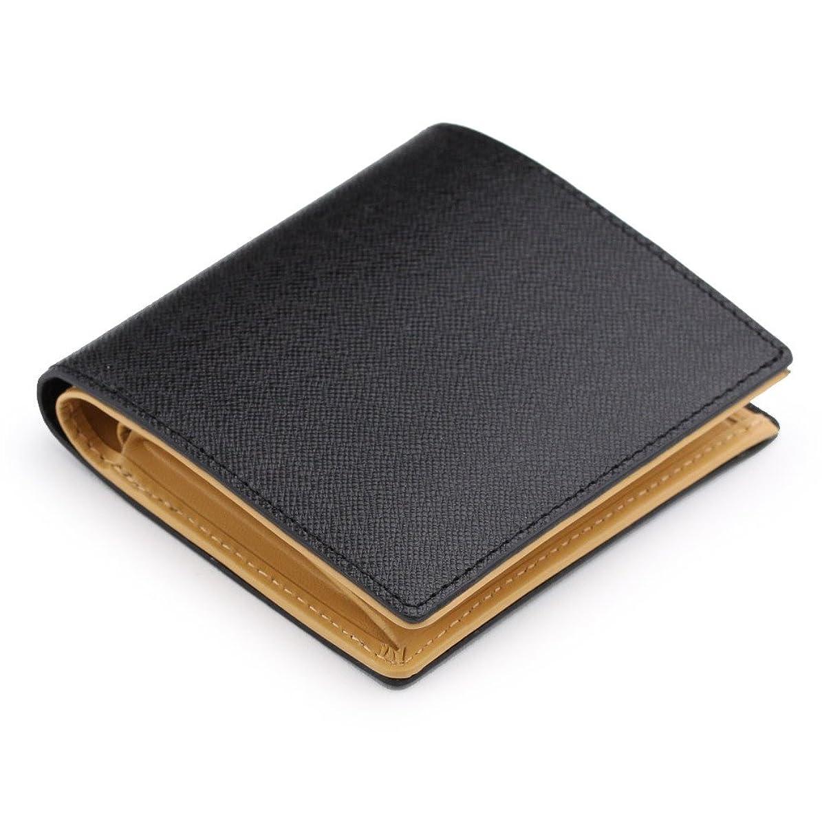 さわやか累計ジャーナル本革 角シボ型押し牛革 二つ折り財布 (BOX小銭入れつき)
