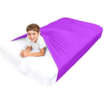 Special Supplies Sensory Bed Sheet for Kids Compression Alternative to Weighted Blankets - Breathable, Stretchy - Cool, Comfortable Sleeping Bedding (Purple, Queen)