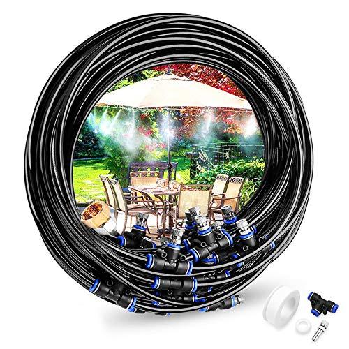 Gesentur Sprühnebel Kühlung Garten Bewässerungssystem, 18M Misting Bewässerungs Set mit 23 Nebeldüsen, für Terrasse Garten Gewächshaus Trampolin Wasserpark