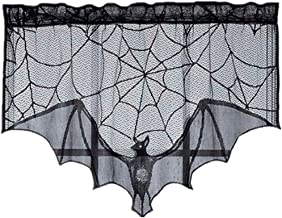 Halloween Decoration Black Lace Spider Web Bat Topper Lamp Shades Fireplace Round Rectangle Halloween Table Cover Table Cloth