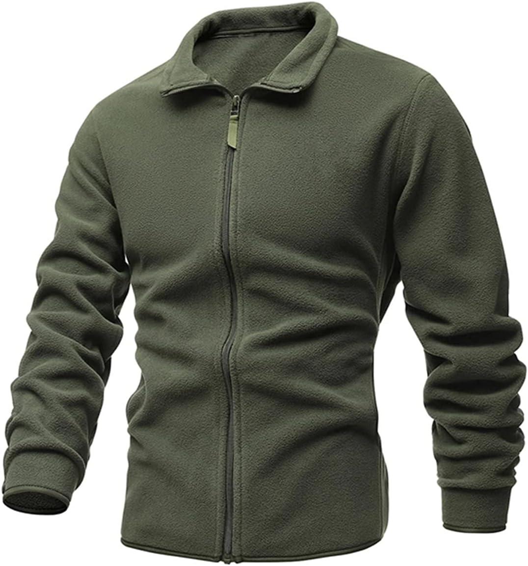 PJRYC Men's Jacket Slim Double-Faced Fleece Sweater Casual Warm Winter Coat (Color : Green, Size : A)