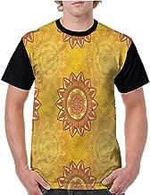 Raglan Short Sleeve Shirts,Yellow Mandala,Arabesque Elements S-XXL Ladies Baseball Tee