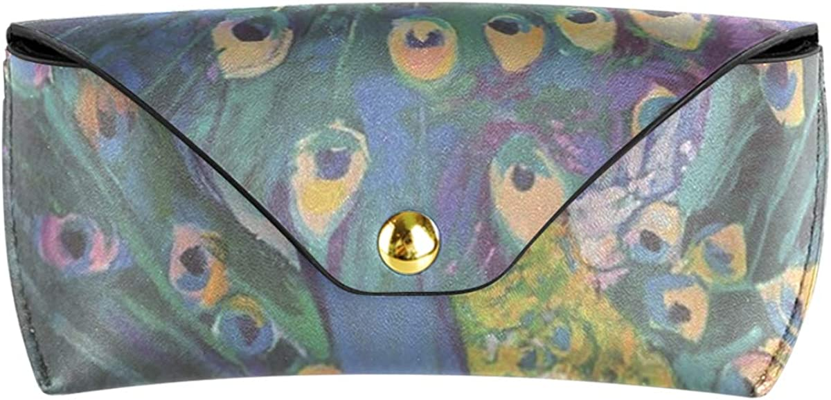gift Animal Colorful Peacock Art Painting Portable Goggles Bag Multiuse Sunglasses Case Eyeglasses Pouch PU Leather