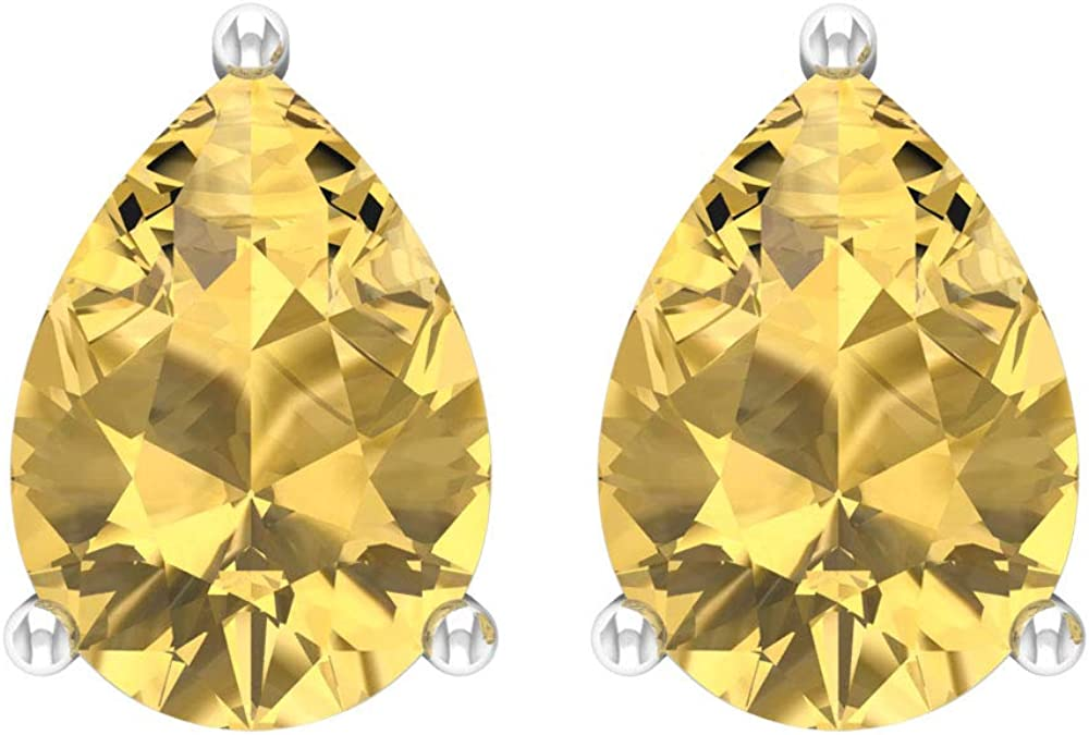 Certified 3 Ct Citrine Solitaire Earring Shape So Gemstone Brand new Topics on TV Pear