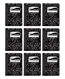 9 Pack-of Mead Square Deal Composition Book, 100-Count, College Ruled, Black Marble (09932)