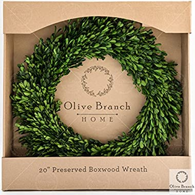 Olive Branch Home Preserved Boxwood Indoor Wreath (20 Inch Round)