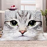 Manta con Estampado Gato Animal Mantas para Sofa Manta de Microfibra Franela Throw de Microfibra Suave cálida y sólida para Cama sofá y Viaje 180x200cm