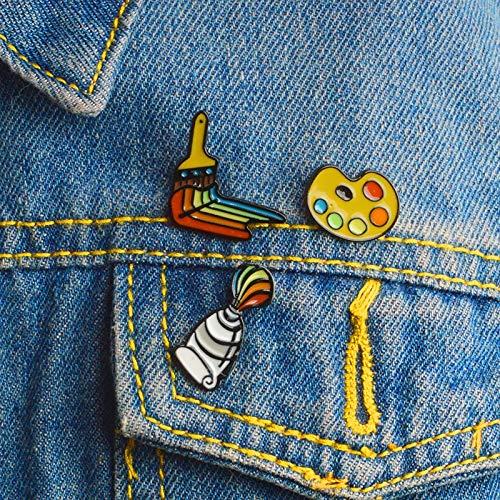 XIAODAN Malwerkzeuge Emaille Pin Farbe Pigment Palette Pinsel Pin Broschen für Hemd Mantel Anstecknadel Schnalle Abzeichen Geschenk für Freunde Kinder Palette