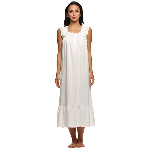 Long Nightgown Nightdress for Women with Lace Trim, Victorian Style Cotton Dress