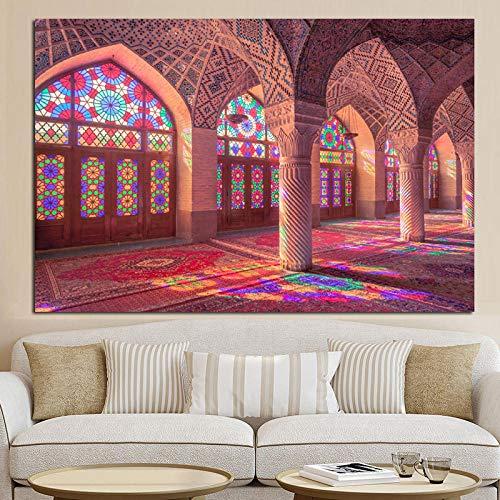 Imagen de Edificio islámico Impresiones artísticas Carteles Mezquita Pintura de Paisaje sobre Lienzo decoración de Arte de Pared Religiosa 50x70cm Sin Marco