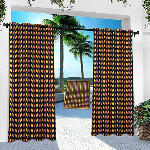 YUAZHOQI Abstract Patio Curtains Outdoor Waterproof, Zigzag Aztec Motif with Modern Influences Arrows Chevron Picture, 96 inches Long Outdoor Curtain for Patio Waterproof(1 Panel)