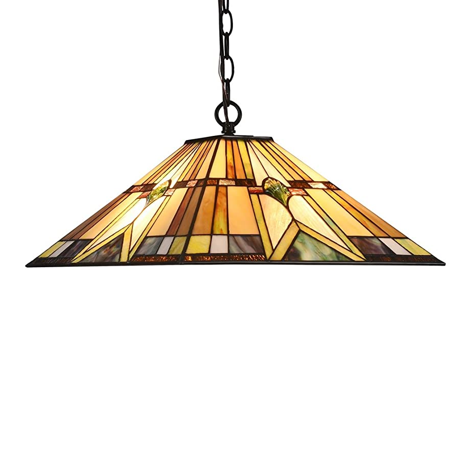 LB Lighting Tiffany Style Mission 2-Light Ceiling Pendant Lamp Fixture 16.1 Inch Stained Glass Hanging Light for Dinning Room, Kitchen Island, Bedroom, Living Room