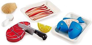 مجموعة بروتينات هابي تيستي | مجموعة طعام خشبية للأطفال، مجموعة مكونات وإكسسوارات فيلكرو أساسية للعب