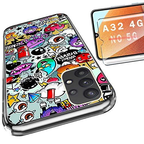 HYMY per Samsung Galaxy A32 4G Cover Vetro Temperato (6.4') - Custodia in Silicone TPU - Back Case Protezione Cellulare Trasparente Bumper 9H Pellicola Protettiva, Monster Doodle