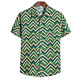 Camisa De Los Hombres Casual Retro Moda Solapa Hombres Manga Corta Vacaciones De Verano Versión Suelta Fresco Cómodo Transpirable Hombres Camisa Casual TC62-Green M